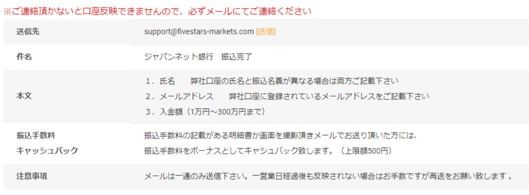 ファイブスターズマーケッツジャパンネット銀行振込完了