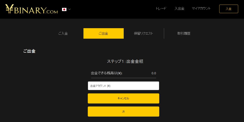ワイバイナリー(Ybinary)出金手順2